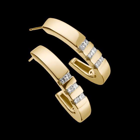 """""""Devotion Diamond Hoop Earrings"""" - 14-karat yellow gold hoop earrings with twelve diamonds, 0.67 total carat weight."""