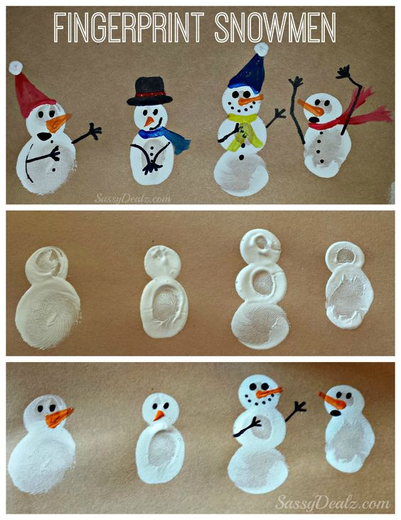 Christmas fun for the kids! DIY these fingerprint Christmas snowmen!