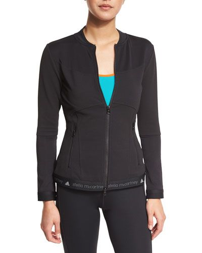 I0PNW adidas by Stella McCartney Run Mid-Layer Zip-Front Jacket, Black