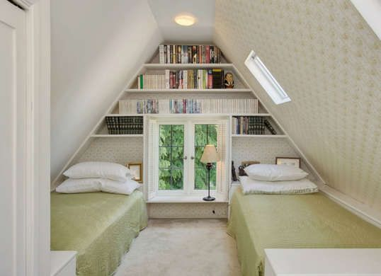 Book storage window and loft bedrooms on pinterest - Small space shelves concept ...