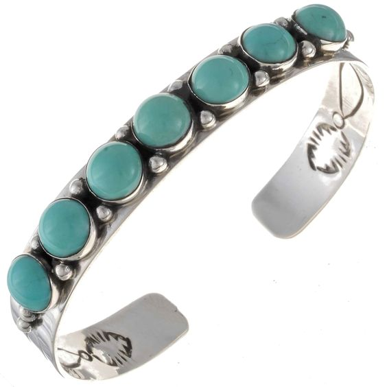 Navajo Turquoise Bracelet Silver Handmade Ladies Cuff
