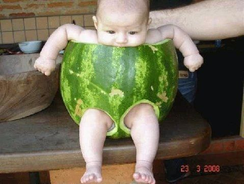 WHAT, A MELON?: I appreciate the sentiment ... Believe me. I do. But one day, you will have to show him this and let him know he was nothing more than a fruity prop. Poor, sticky baby.