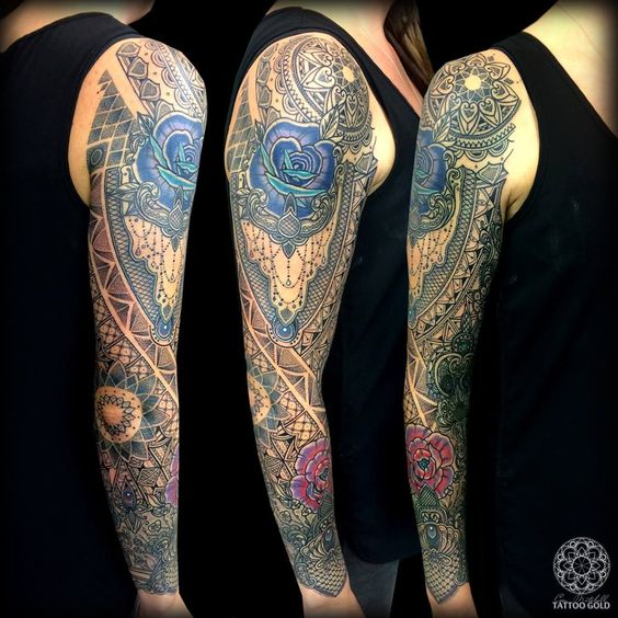 Coen mitchell custom mosaic full sleeve tattoo for Full custom tattoo