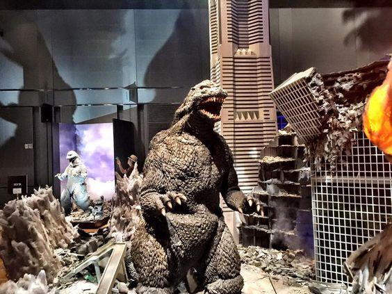 Godzilla suit on display in Yokohama.