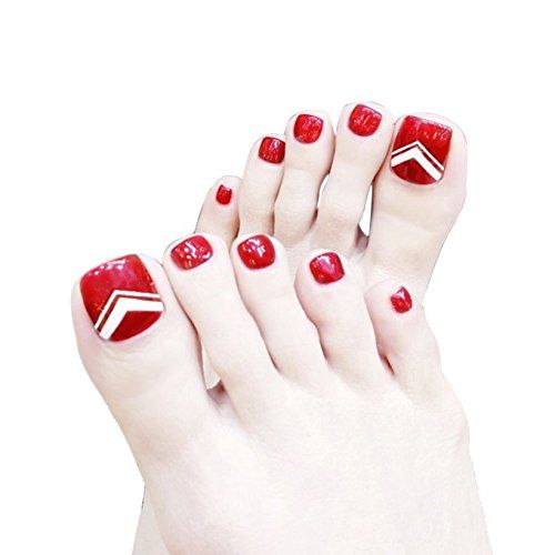 24pcs Red Fake Toenails For Women Acrylic Press On Toe Nail Tips Full Cover False Feet Nails Art Nogti Na Nogah Stopy Nogti Konchiki Nogtej
