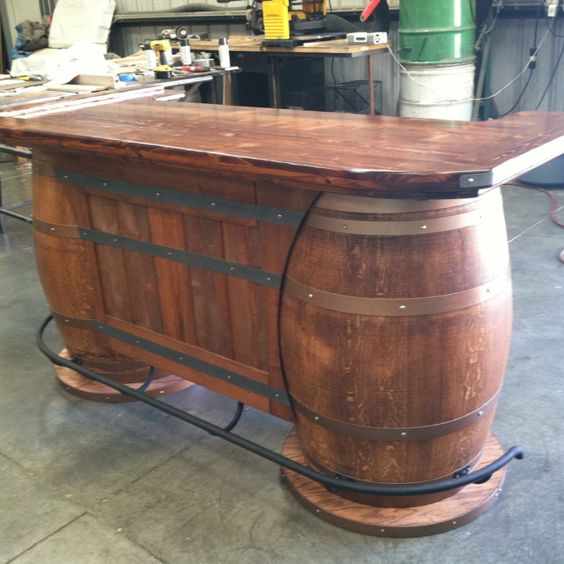 Custom made  Wine barrel bar made for our saloon themed game room.