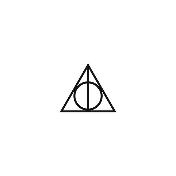 hp deathly hallows triangle symbol ❤ liked on Polyvore featuring fillers, harry potter, backgrounds, black fillers, black, doodles, quotes, text, pattern and phrase