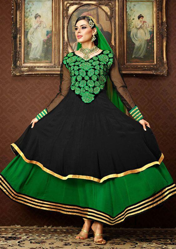 Unique Black & Bottle Green Salwar Kameez. Just Use this Voucher to get 15% Discount See Now - http://www.gravity-fashion.com/10439-unique-black-bottle-green-salwar-kameez.html