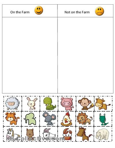 math worksheet : kindergarten farm cut and paste worksheets  farm sort worksheet  : Free Cut And Paste Worksheets For Kindergarten
