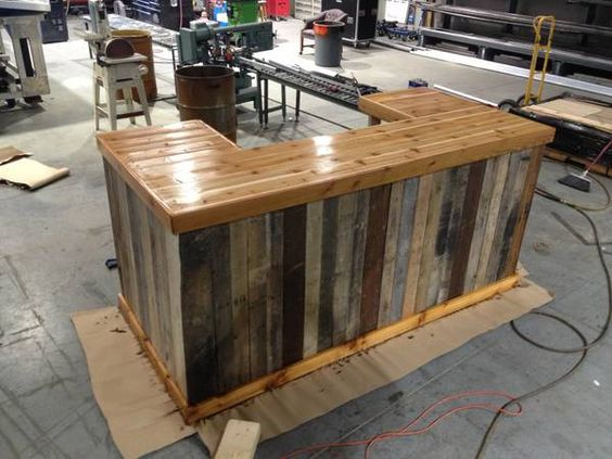Great bar from furnishly charlotte reclaimed wood for Wooden bar design