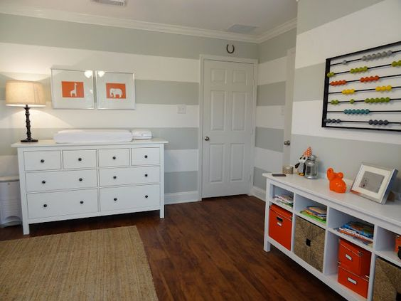 Love this Nursery - especially the gray and white striped wall
