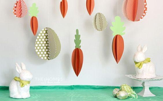 carottes 3d en papier plié, lapins blancs, oeufs enrobés de papier brillante, table de paques décoration