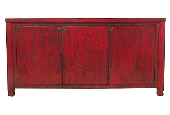 Eleanor 3-Door Sideboard, Red on OneKingsLane.com - 71x17x36 $1499.00