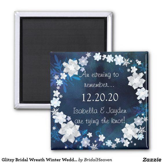Glitzy Bridal Wreath Winter Wedding Save the Date 2 Inch Square – Winter Wedding Save the Date Magnets