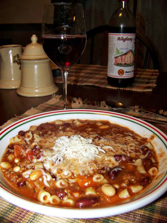 My fav,,,Olive Garden's Pasta e Fagioli Soup...1 lb. ground beef,  1 small onion, diced,  1 large carrot, chopped,  1 stalk celery, chopped,  2 cloves garlic, minced,  1 quart of tomatoes (or 2 14.5 oz. diced tomatoes),  1 15-oz. can red kidney beans (w/ juice),  1 15-oz. can Great Northern Beans (w/ liquid),  1 T. white vinegar,  1 ½ t. salt,  1 t. oregano,  1 t. basil,  ½ t. pepper,  ½ t. thyme,  ½ lb. Ditali pasta.