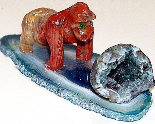 Gorilla Soapstone Figurine with Banded agate Slice and blue Crystal geode New