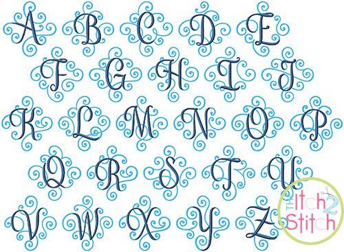 Elegant Scroll Two Color Monogram