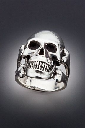 Silver Large Skull and Crossbone Ring by martymagic on Etsy, $165.00
