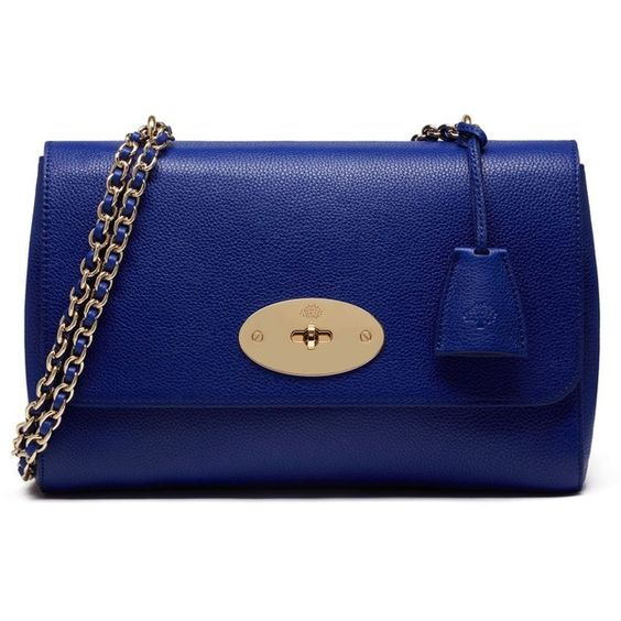 Mulberry Medium Lily ($1,200) ❤ liked on Polyvore featuring bags, handbags, neon blue, blue handbags, chain strap purse, woven leather handbag, neon purse and lily bags