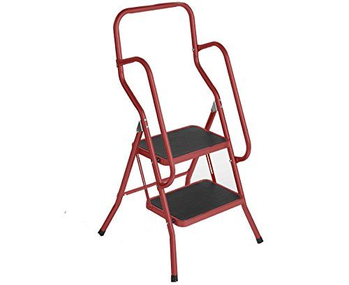 Charles Bentley 2 Step Tread Folding Household Step Ladder Steel Safety Non  Slip Lightweight Kitchen Stool No Description (Barcode EAN U003d 5014555091u2026
