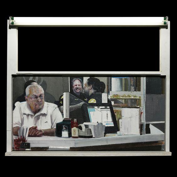 Brett Amory - Cafe Versailles (Waiting #227) #brettamory #jonathanlevinegallery