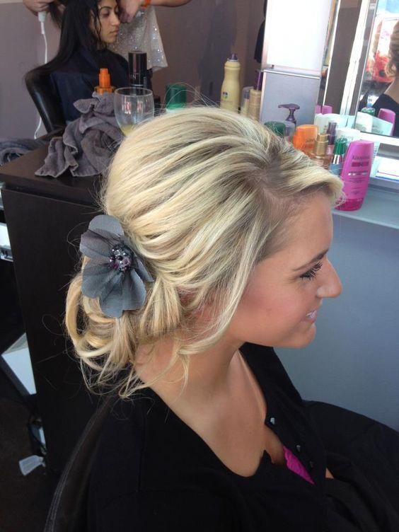 Loose Wedding Side Bun Updo With Flower Big Blonde Hair