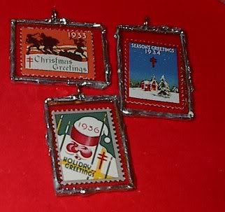 American Lung Association Christmas Seals sandwiched in microscope slide ornaments