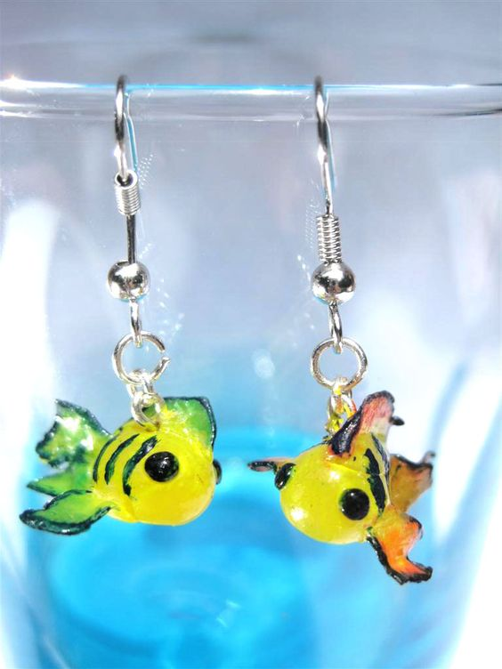 Colorful Baby Koi - Cutefish Charms Miniature Polymer Clay Earrings. $16.00, via Etsy.
