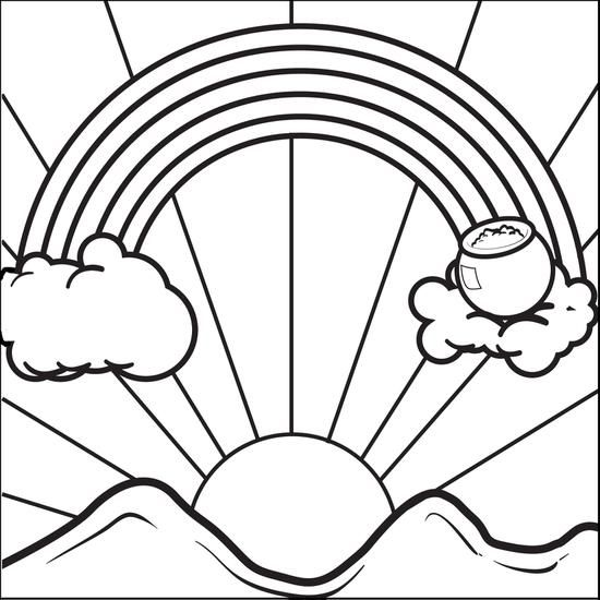 Rainbow With A Pot Of Gold Coloring Page Leaf Coloring Page