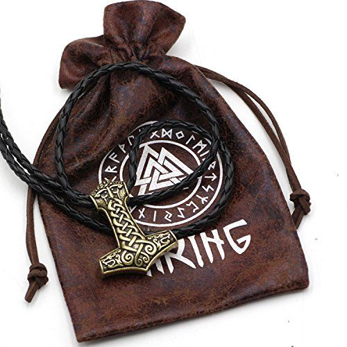 Viking Thor/'s Hammer Colgante Collar de cuero con color cobre