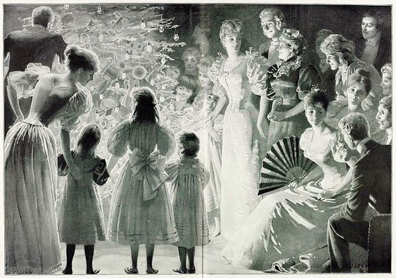 A centrepiece in the Illustrated London News, Christmas 1896, entitled The Christmas Tree. The artist, Lucien Davis, was a talented illustrator who specialised in society and leisure scenes. Before 1848, Christmas trees were a German custom, unusual in Britain. When the ILN's Christmas issue of that year depicted the Royal Family gathered around their tree, it became a potent symbol of Victorian Christmas festivities