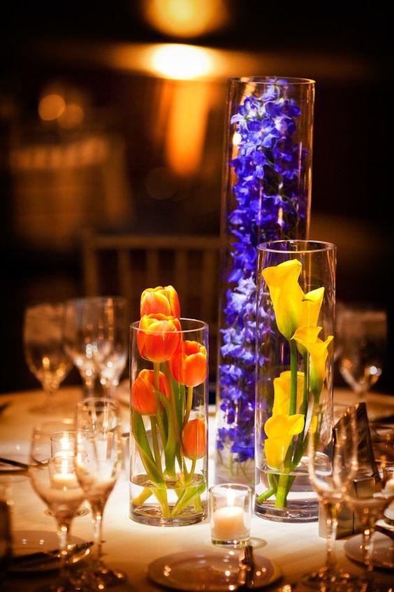 Reception centerpiece details blue orange and yellow - Yellow and orange wedding decorations ...
