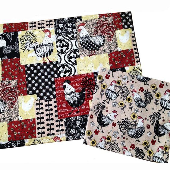 placemats and napkins | Placemats and Napkins, Farm House Décor, Set of 6, Chicken Placemats ...