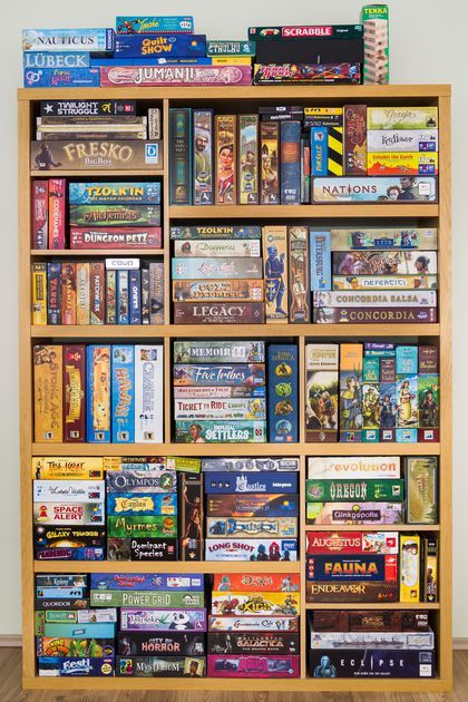 Our game shelf (17.05.2016). Not much room left :D