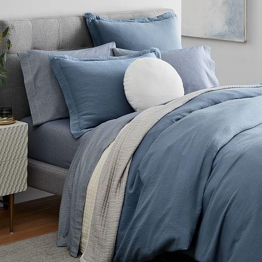Organic Crinkle Duvet Cover Shams West Elm Blue Comforter Bedroom Blue Bedroom Decor Comfortable Bedroom