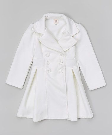 Just Kids White Pleated Peacoat - Toddler & Girls | Coats Olivia