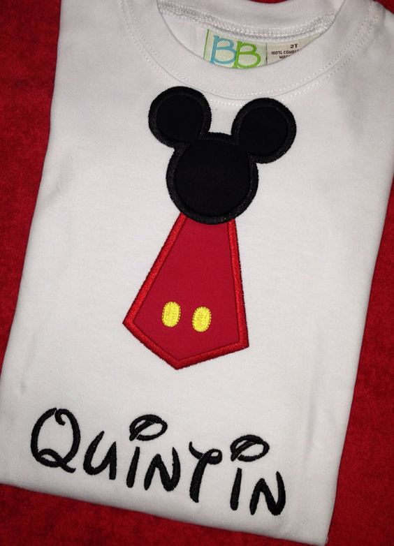 Mickey Mouse Tie Shirt Applique Embroidery Disney on Etsy, $21.00: