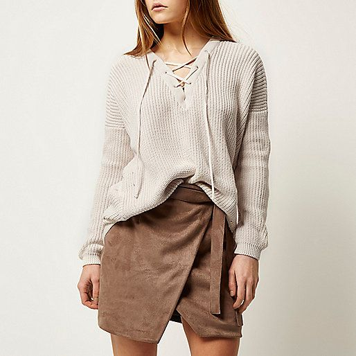 RIVER ISLAND - Cream knitted lace-up slouchy jumper - jumpers - knitwear - women