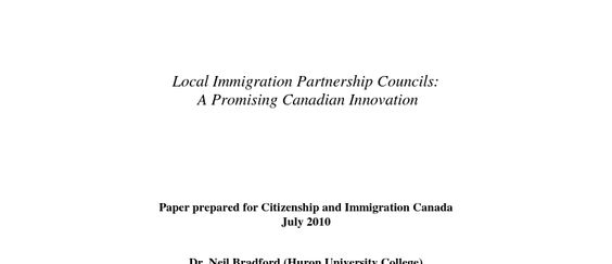 Local immigration partnership councils : a promising Canadian innovation.