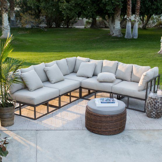 Belham Living Bonaire Aluminum Outdoor Sectional Set Comfortable