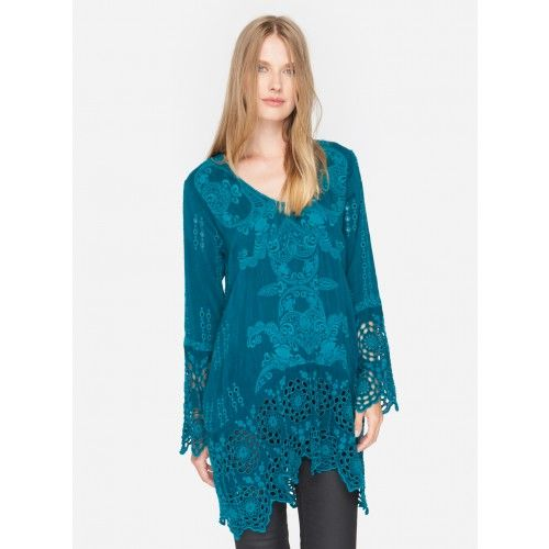 Lona V-Neck The Johnny Was LONA V-NECK looks gorgeous with your fave denims but this tonal tunic could easily become a sweet dress when slipped over a slip in neutral shade. The circular, floral eyelet design along the hem and sleeves add a breezy, boho elegance to this fall top.  —Rayon —Signature Embroidery —V neck —Slip on Style —Care Instructions: Machine Wash Cold, Tumble Dry Low