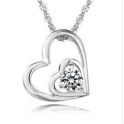 Women's 925 solid silver Double Heart Crystal Rhinestone Pendant necklace Chains