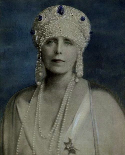 Queen Marie wearing an Antique Tiara, Romania (made by Cartier of sapphires, pearls, and diamonds).