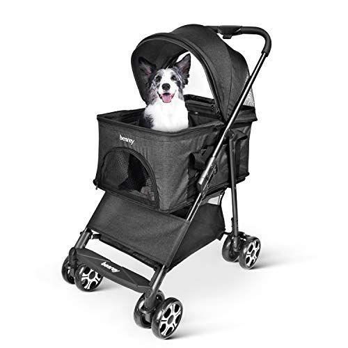 Besrey Pet Stoller Lightweight Lite Dogs Jogger Foldable Cat Carrier For Cats Dogs Black Cat Carrier Dog Carrier Dog Care
