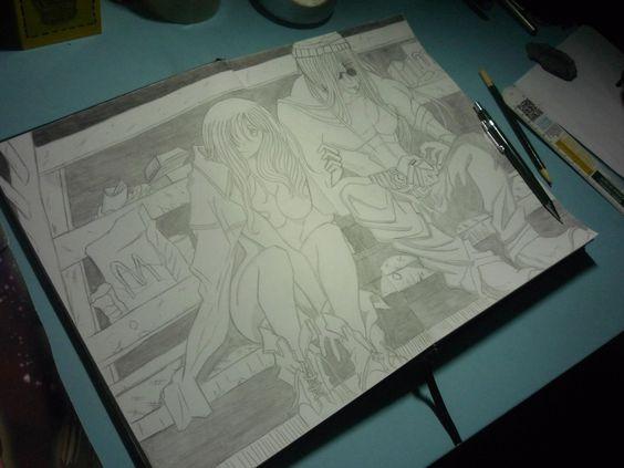 Desenhei por desenhar mesmo queria desenhar personagens interagindo com o cenário e fazer mais sombreamento.