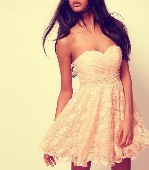 White lace summer dress - strapless sweetheart. Women's Apparel.