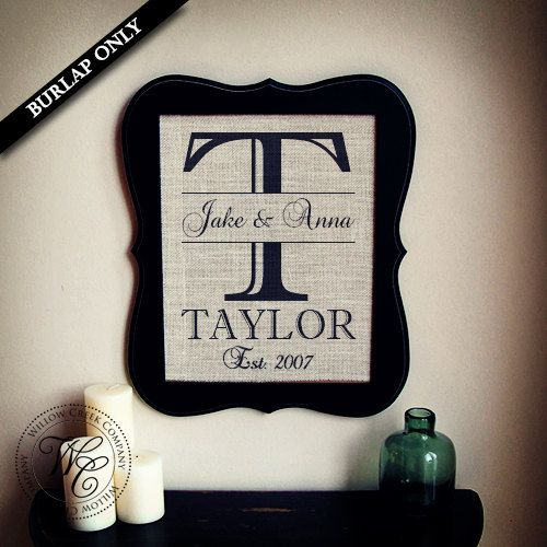 Wedding Gift Name Sign : Print Wedding Gift Burlap Wall Art - Personalized Family Name Sign ...