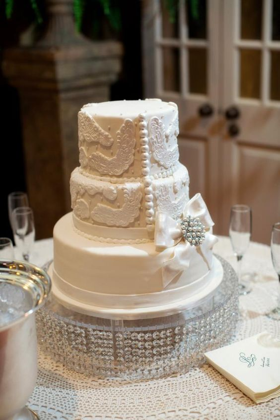 Wedding cake with lace and buttons to match my dress.