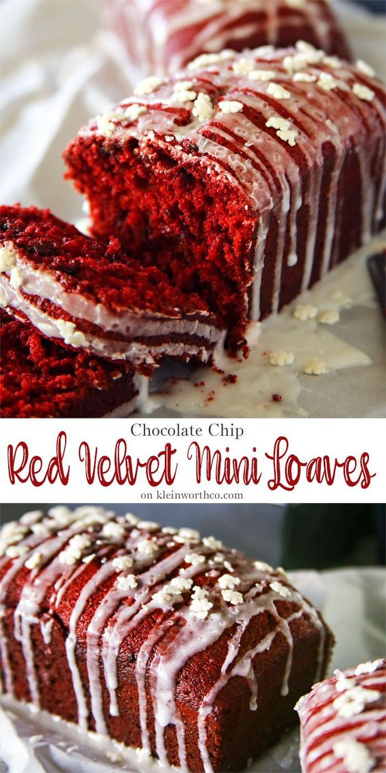 Chocolate Chip Red Velvet Mini Loaves are a delightful homemade gift to give to neighbors or friends during the holiday season. via @KleinworthCo
