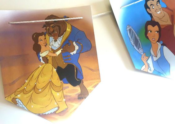DISNEY'S BEAUTY And The BEAST- Vintage Book, Paper, Children's Room, Nursery, Party Decoration, Birthday, Banner, Repurposed